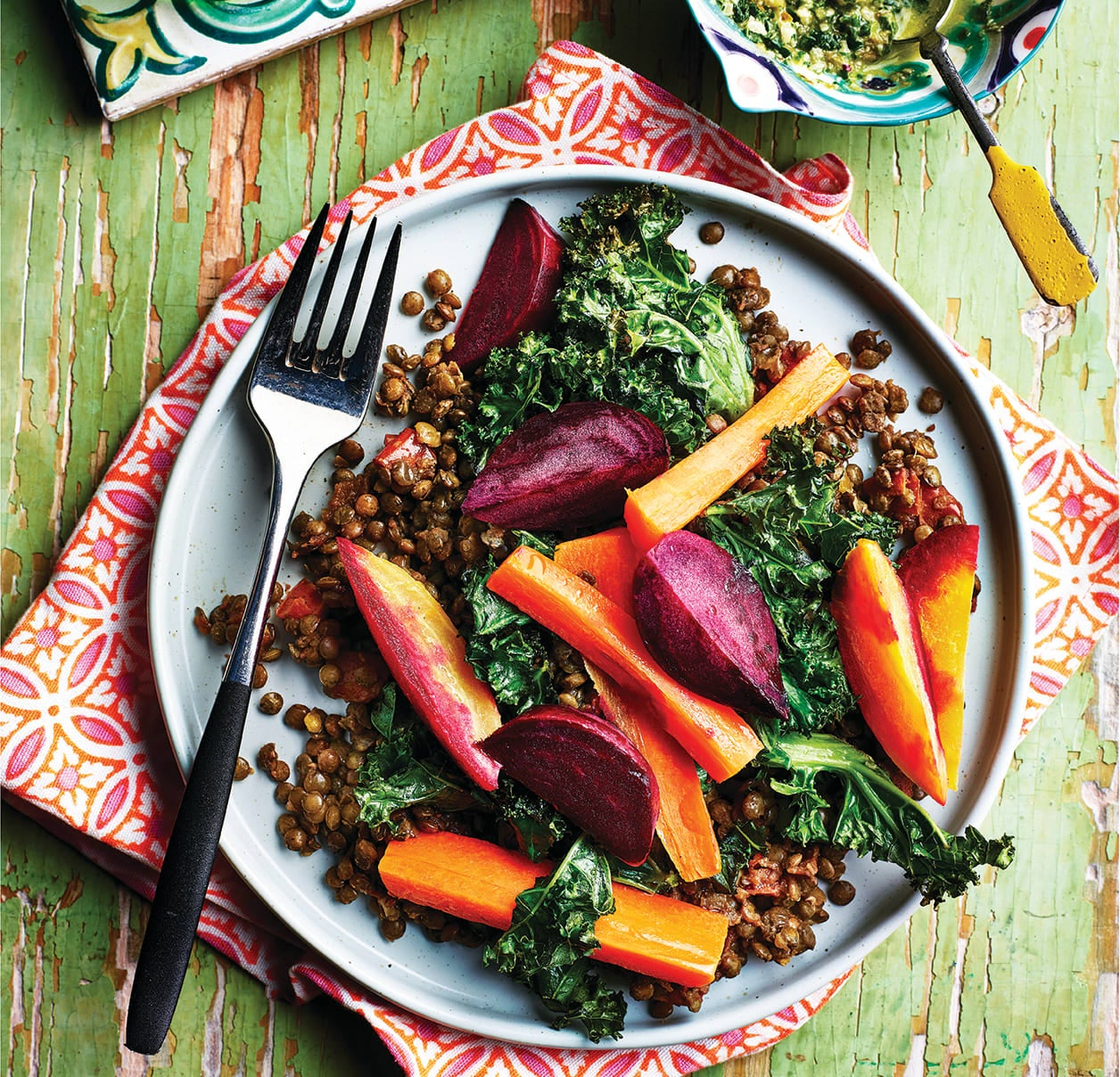 Photo of Braised Puy lentils with roasted root veg & salsa verde by WW