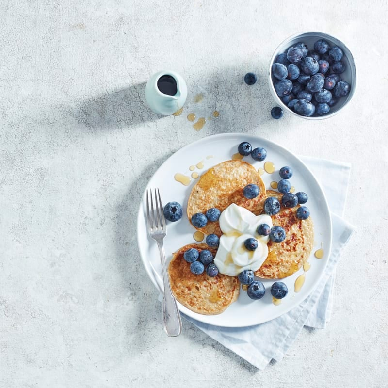 Photo of American-style banana protein pancakes by WW