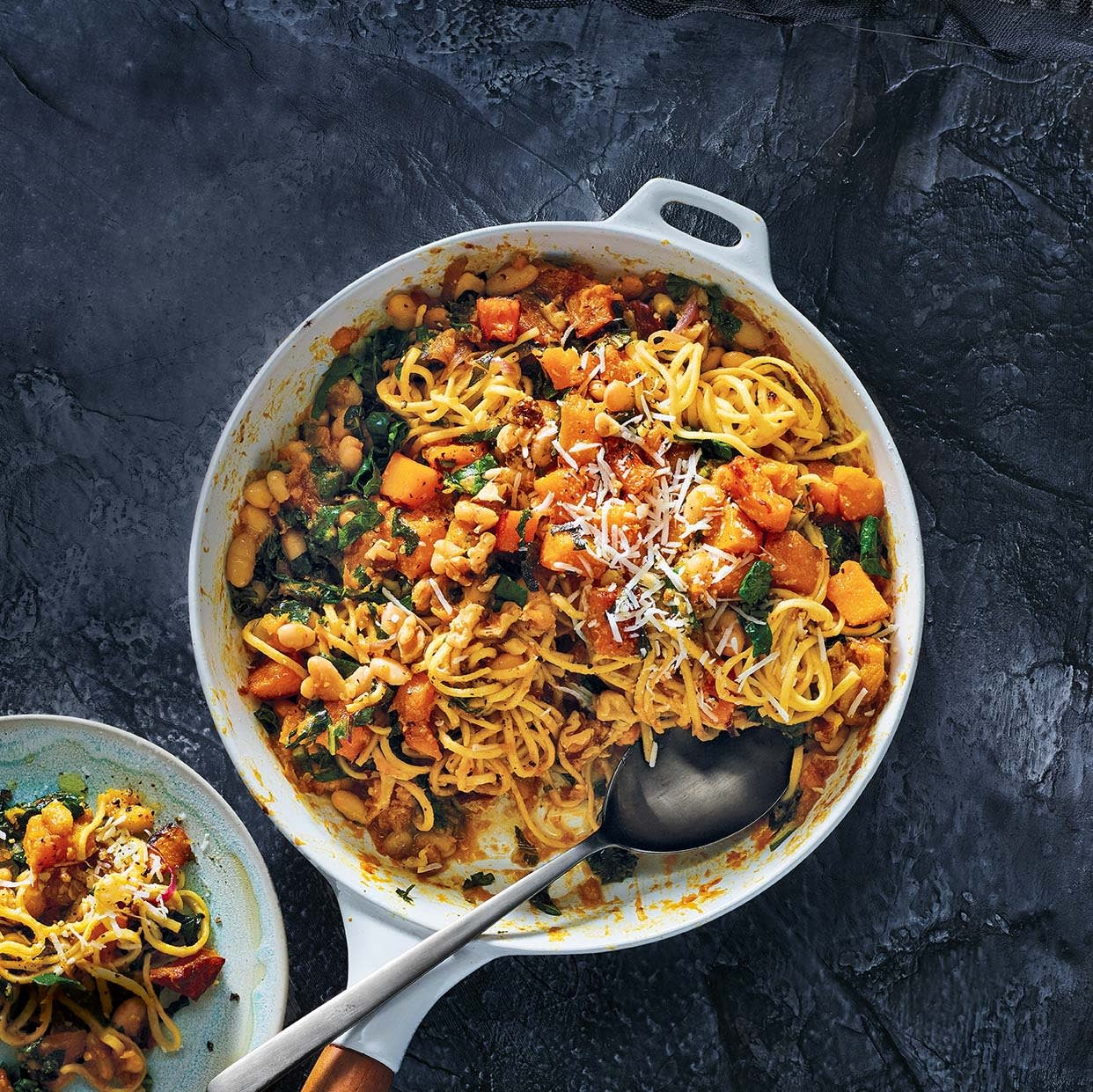 Photo of Spaghetti with butternut squash, white beans & kale by WW