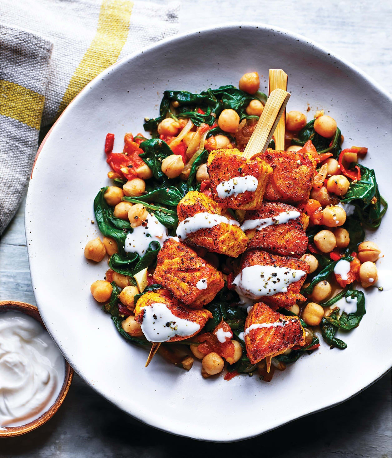 Photo of Indian-style salmon skewers with chickpea saag by WW