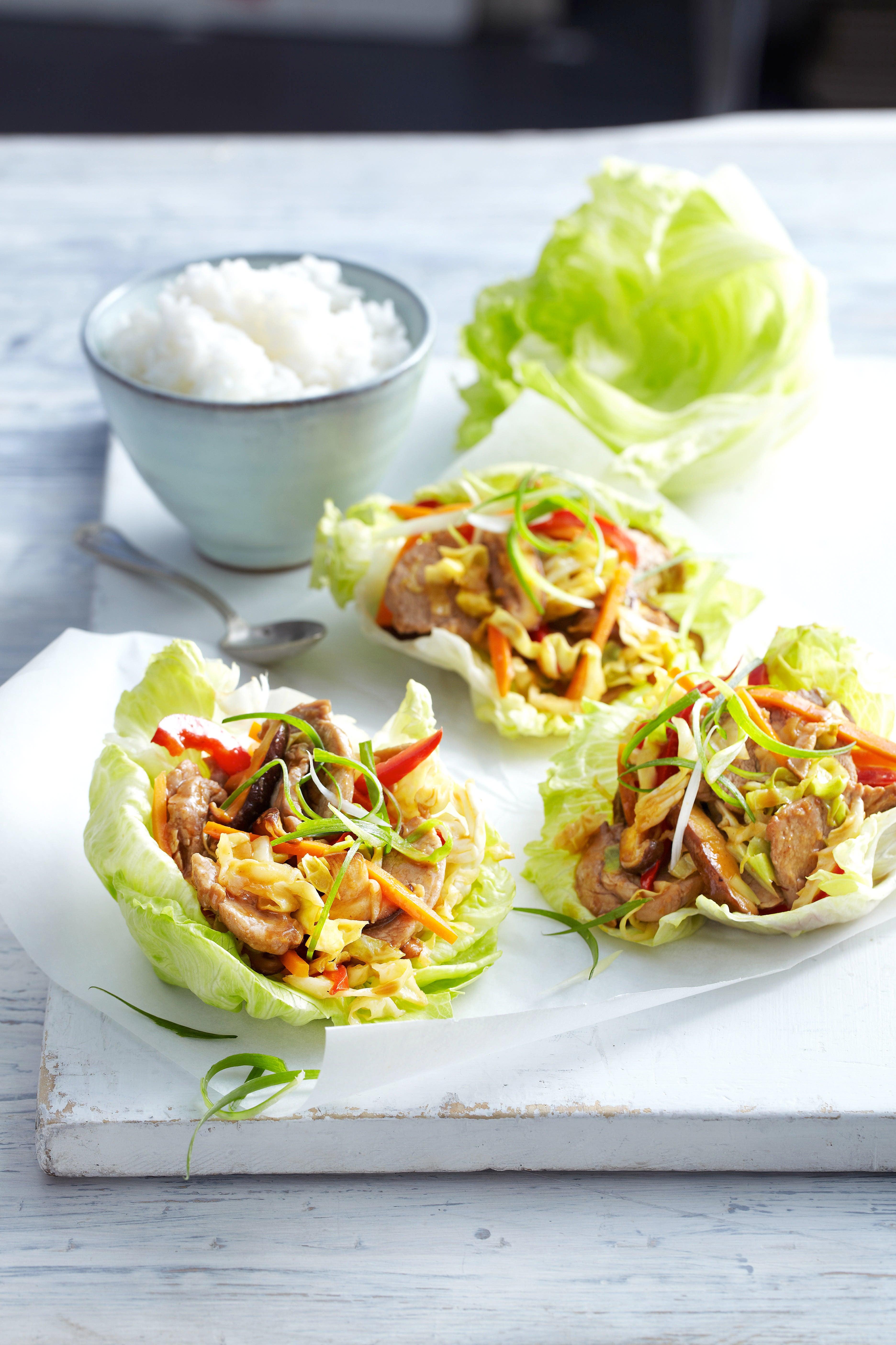 Photo of Moo shu pork in lettuce leaves by WW