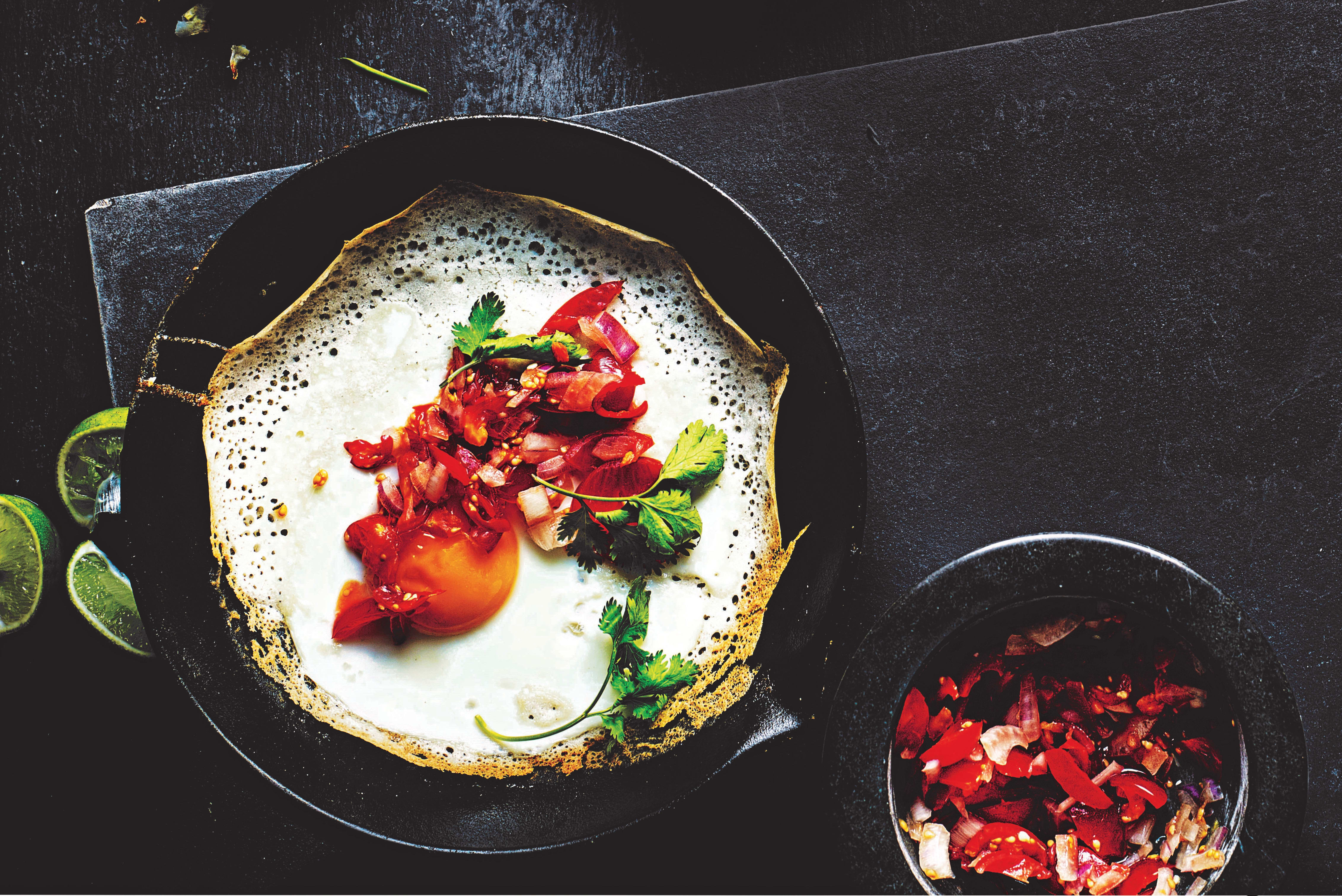 Photo of Sri Lankan-style egg hoppers with chilli sambal by WW