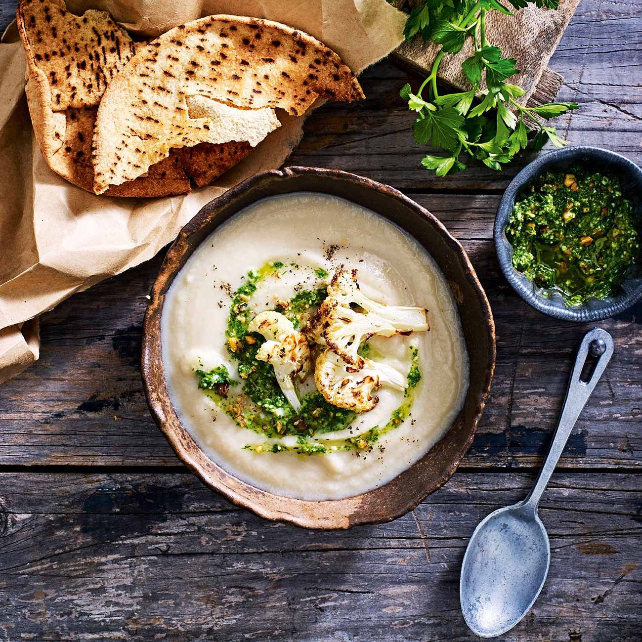 Photo of Cauliflower & white bean soup with parsley pesto by WW