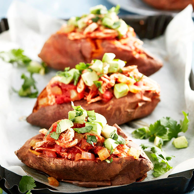 Photo of Baked sweet potatoes with chilli chicken & avocado salsa by WW