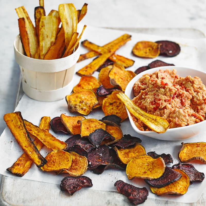 Photo of Root vegetable crisps with houmous by WW