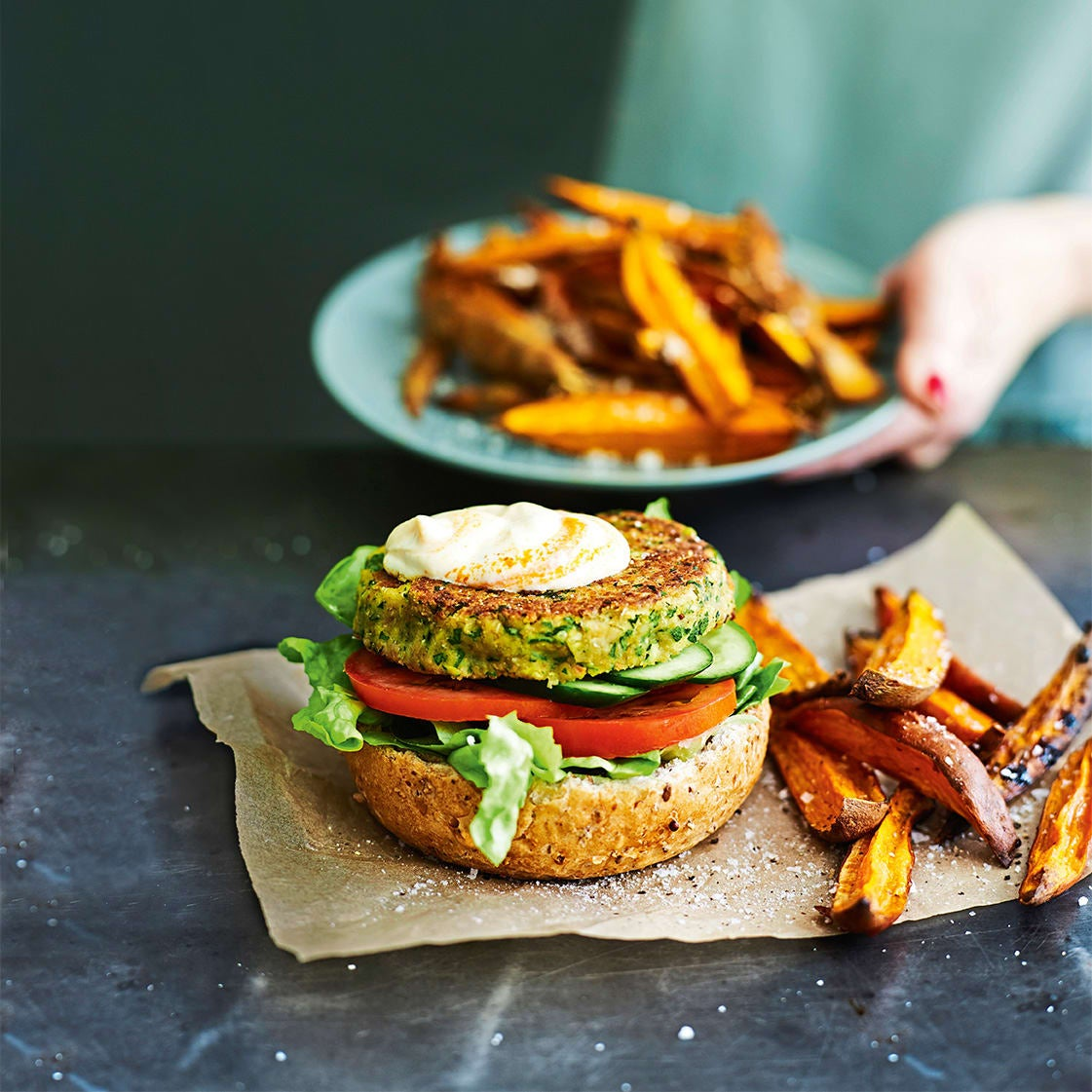 Photo of Open veggie burger with sweet potato wedges by WW