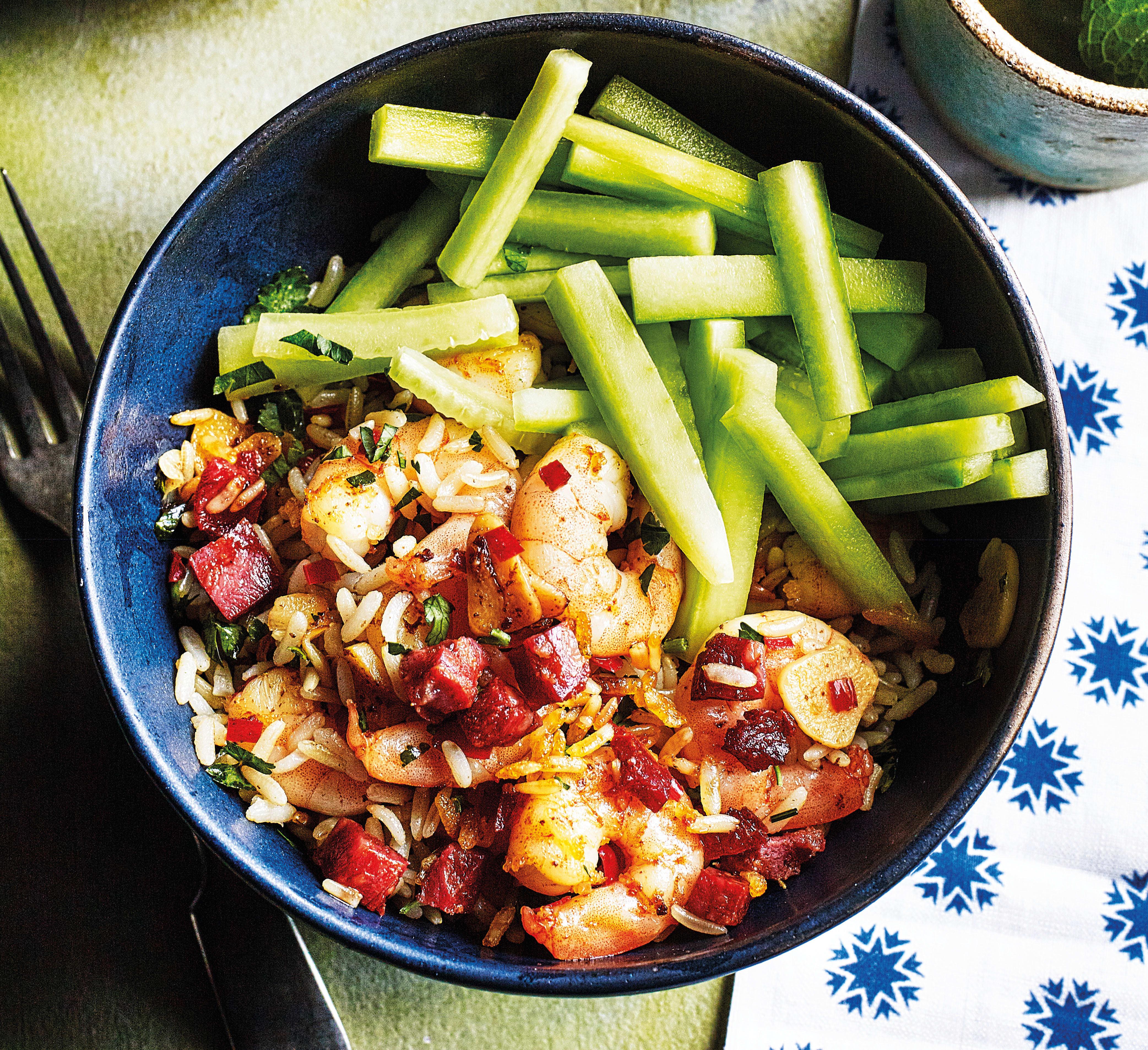Photo of Chilli prawns & chorizo rice bowl by WW