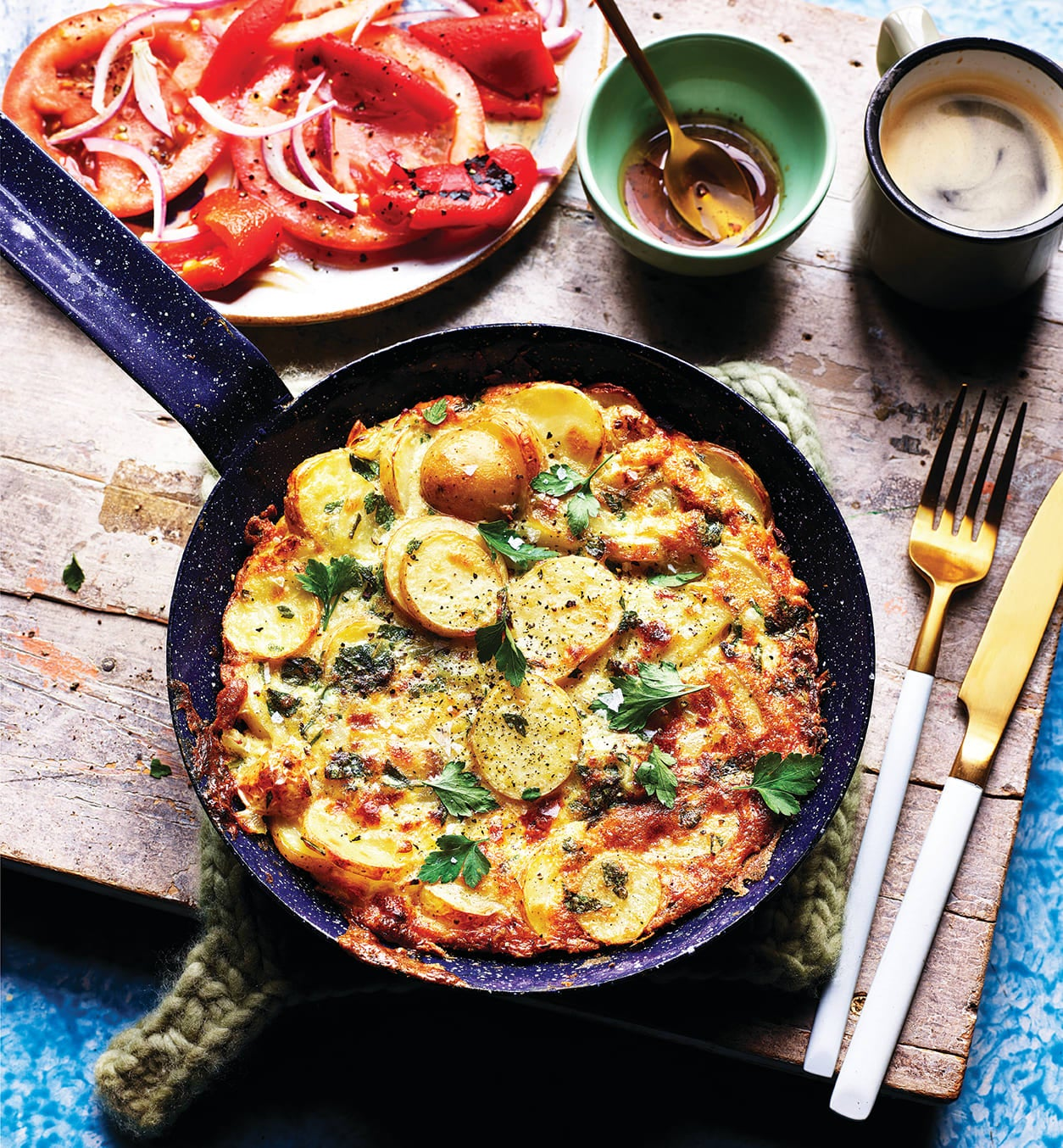Photo of Spanish tortilla with red pepper salad by WW
