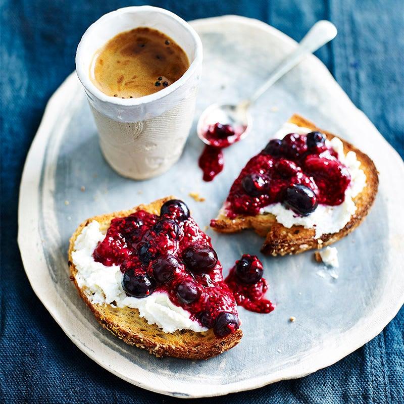 Photo of Ricotta & chia berry jam on toast by WW