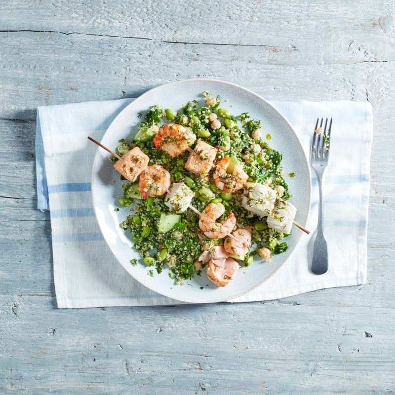 Photo of Seafood kebabs with green quinoa salad by WW
