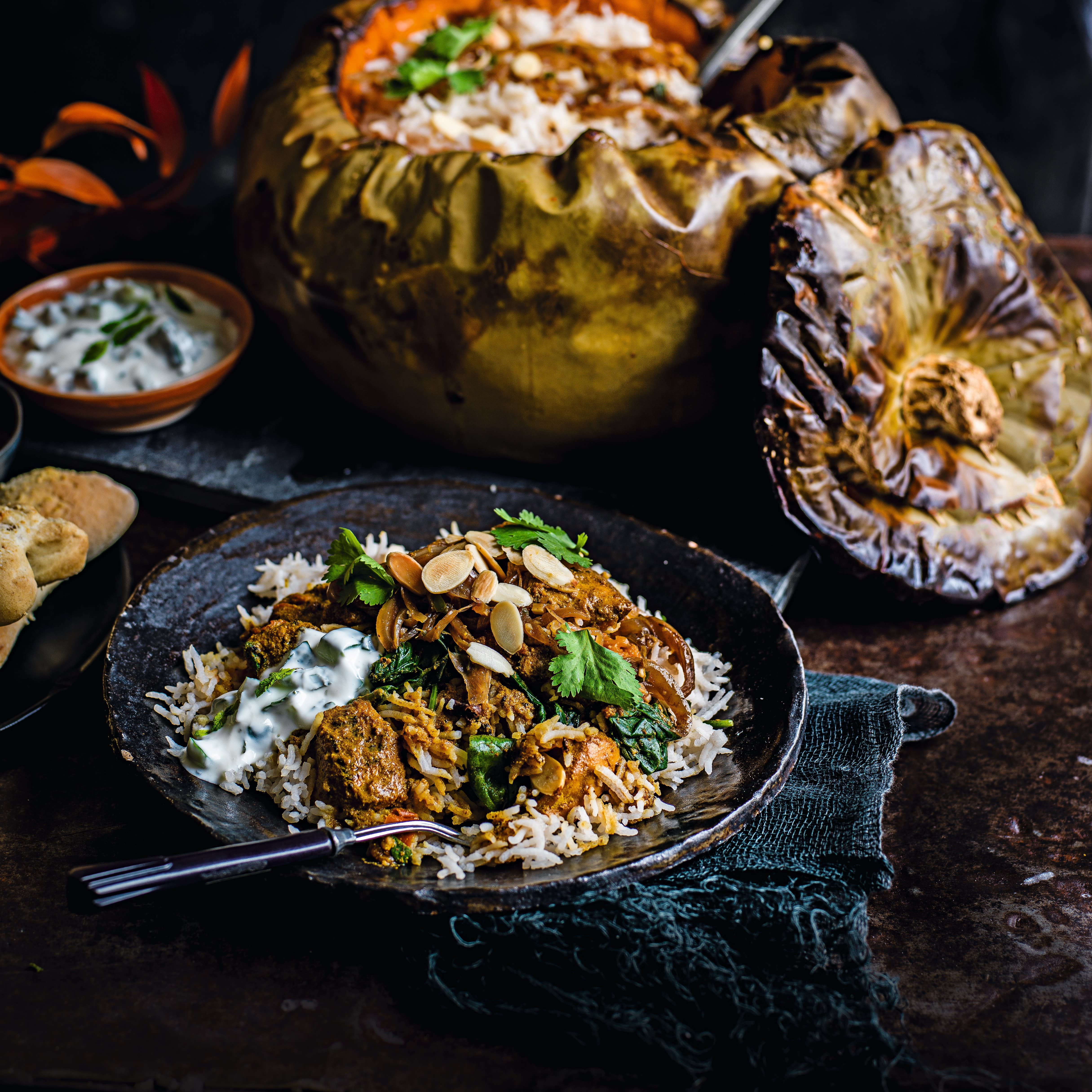 Photo of Chicken biriyani in a pumpkin cauldron by WW