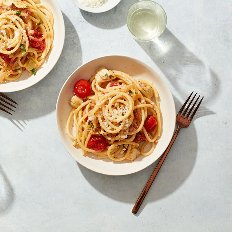 Photo of Spicy pancetta & cherry tomato pasta by WW