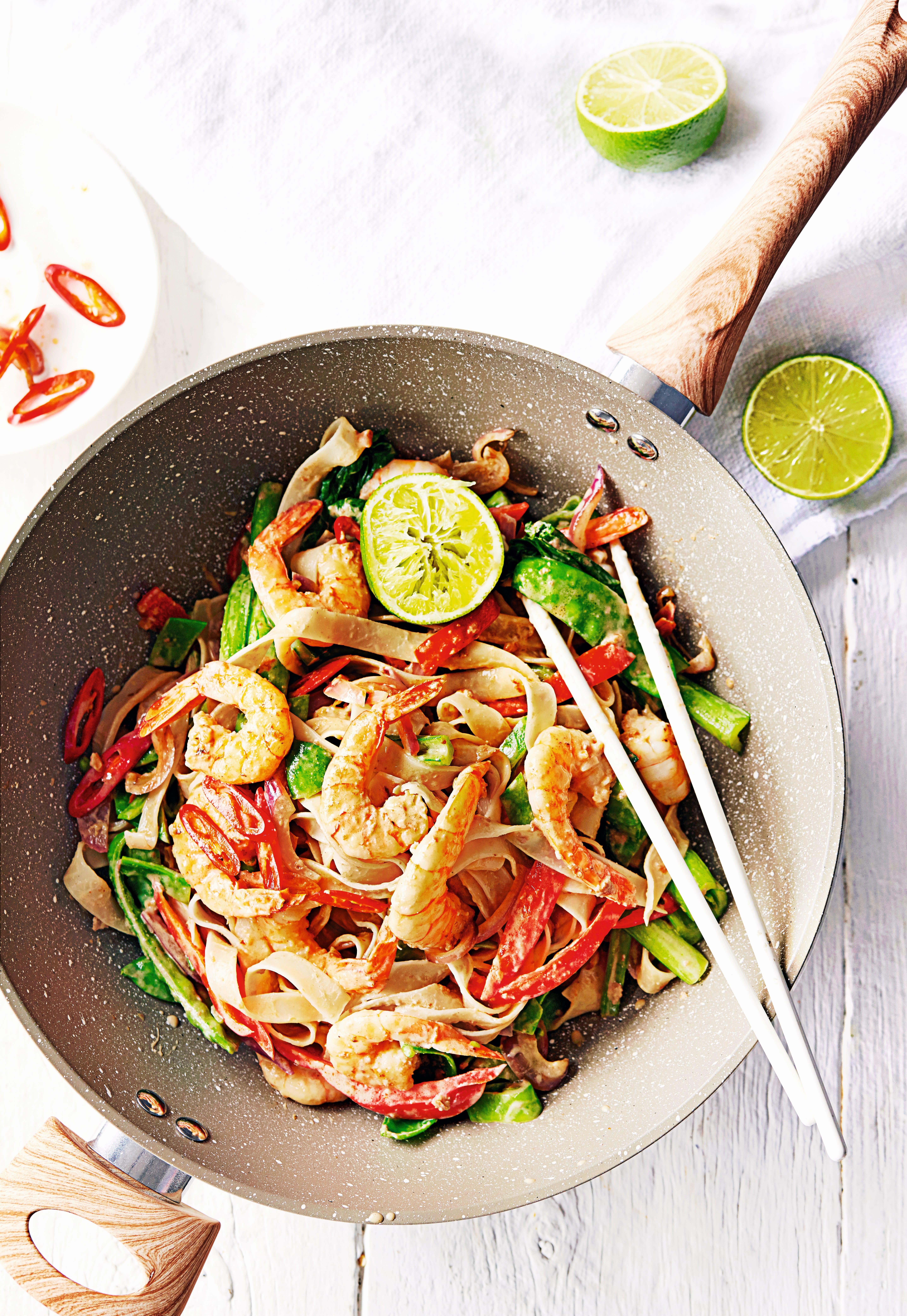 Photo of Satay prawns & rice noodle stir-fry by WW