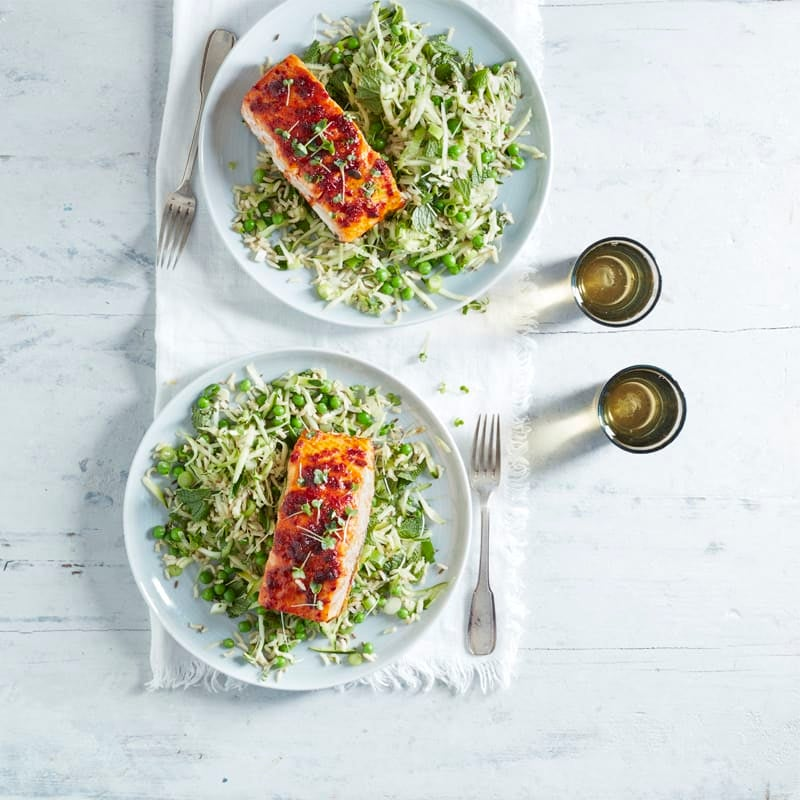 Photo of Harissa salmon with green rice by WW