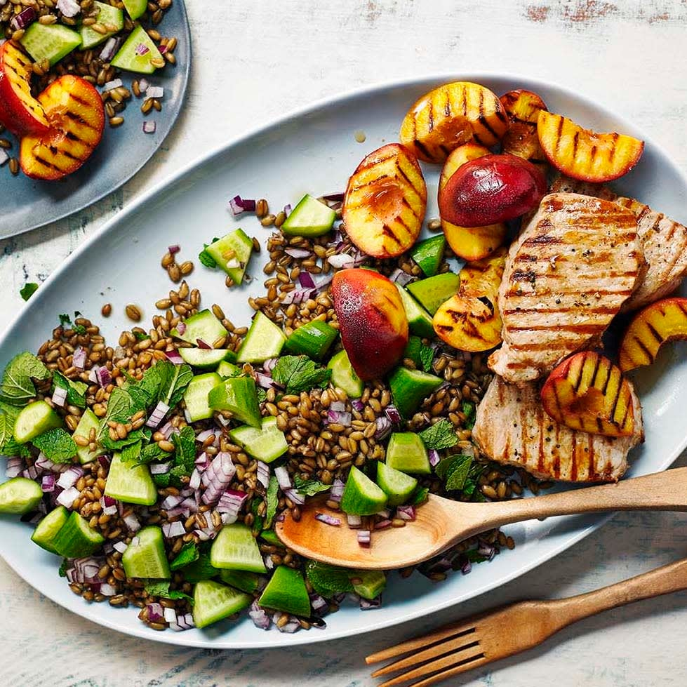 Photo of Griddled pork with freekeh & nectarine salad by WW