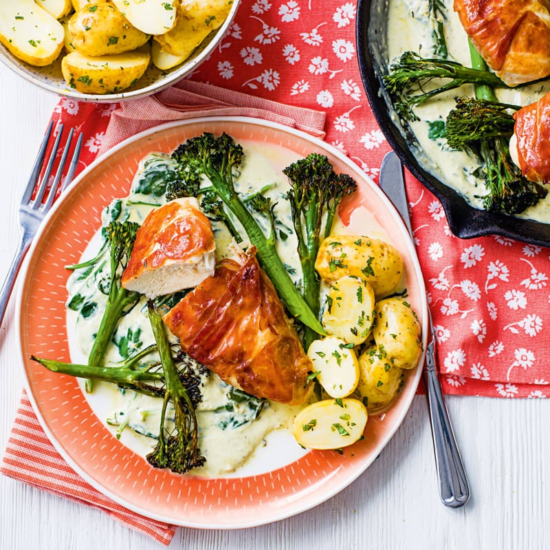 Photo of Prosciutto-wrapped chicken with pesto & cheese sauce by WW