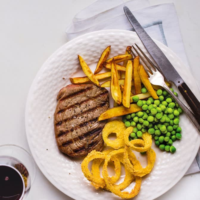 Photo of Steak & chips with crispy onion rings by WW
