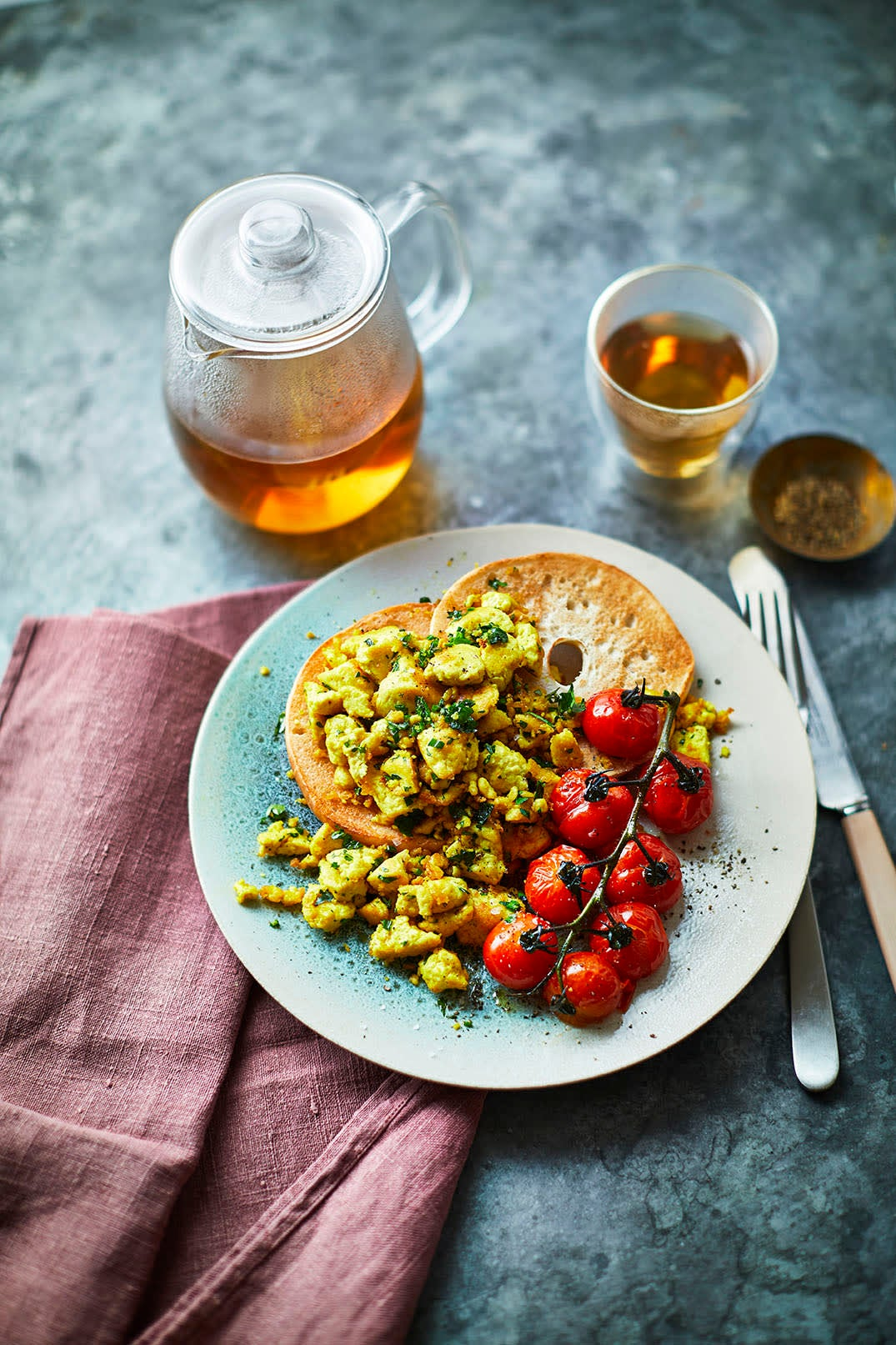 Photo of Herby scrambled tofu with griddled tomatoes by WW