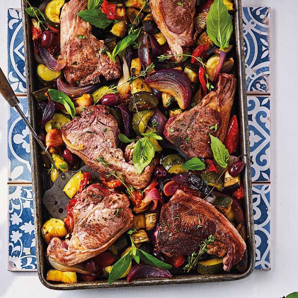 Photo of Lamb chop & ratatouille tray bake by WW