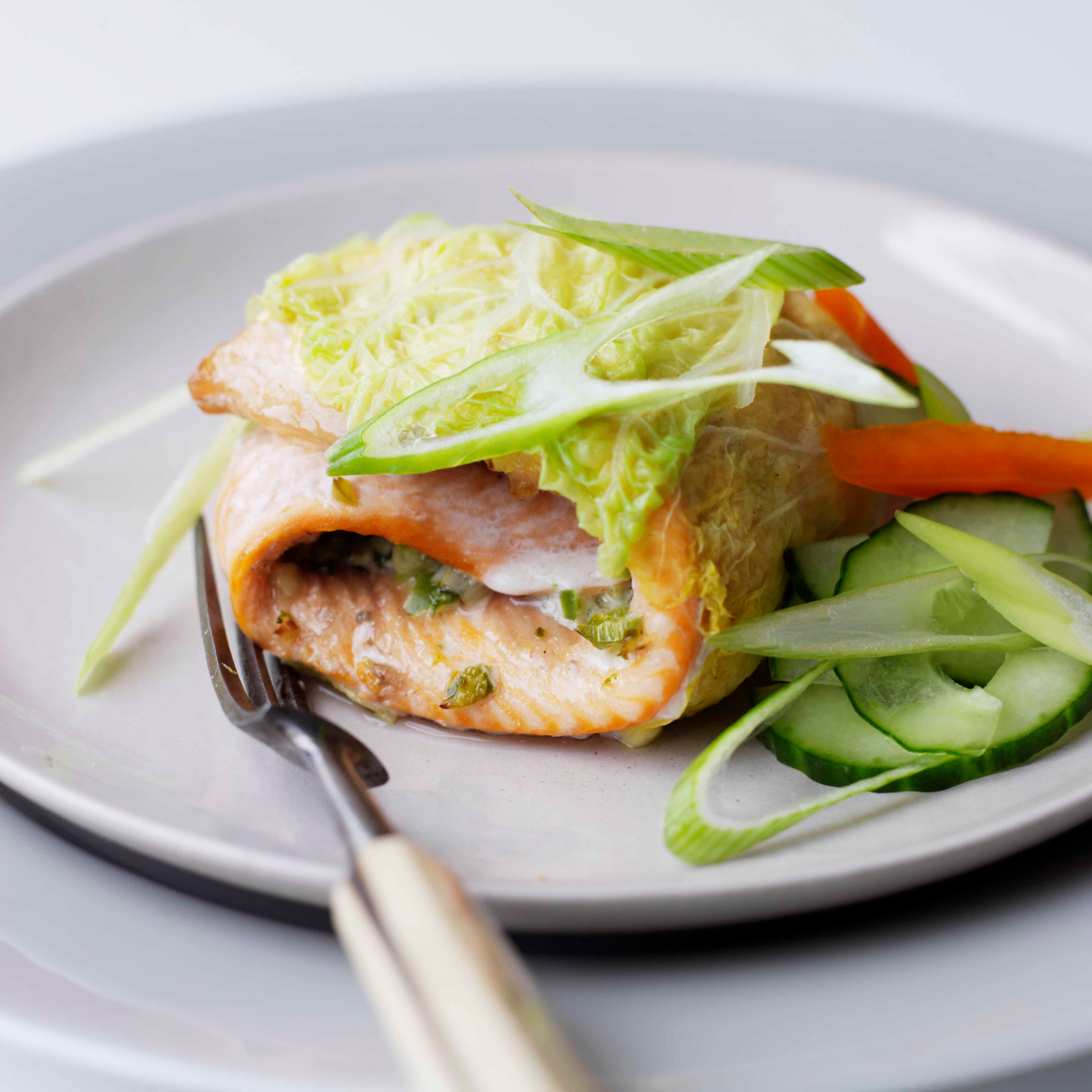 Photo of Trout fillets in Chinese leaf parcels by WW