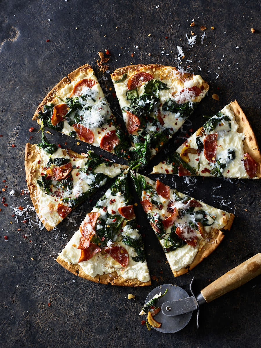 Photo of Three-cheese pepperoni pizza with garlicky spinach by WW