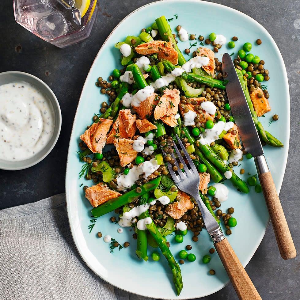 Photo of Salmon, asparagus & lentil salad by WW