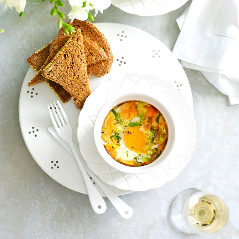 Photo of Baked eggs with salmon & creamy spinach by WW