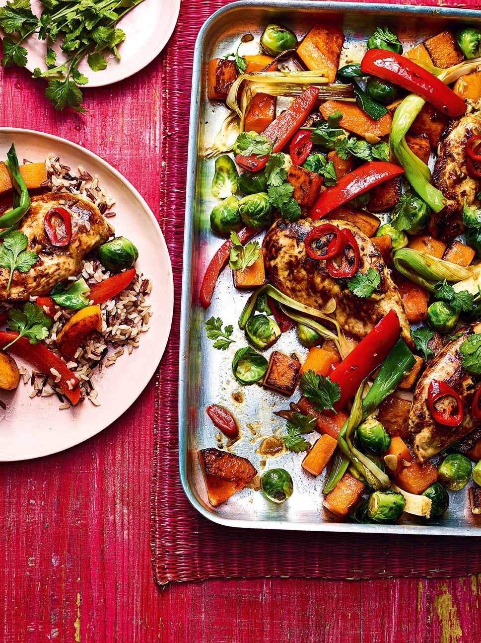 Photo of Sticky spiced chicken, squash & sprout traybake by WW