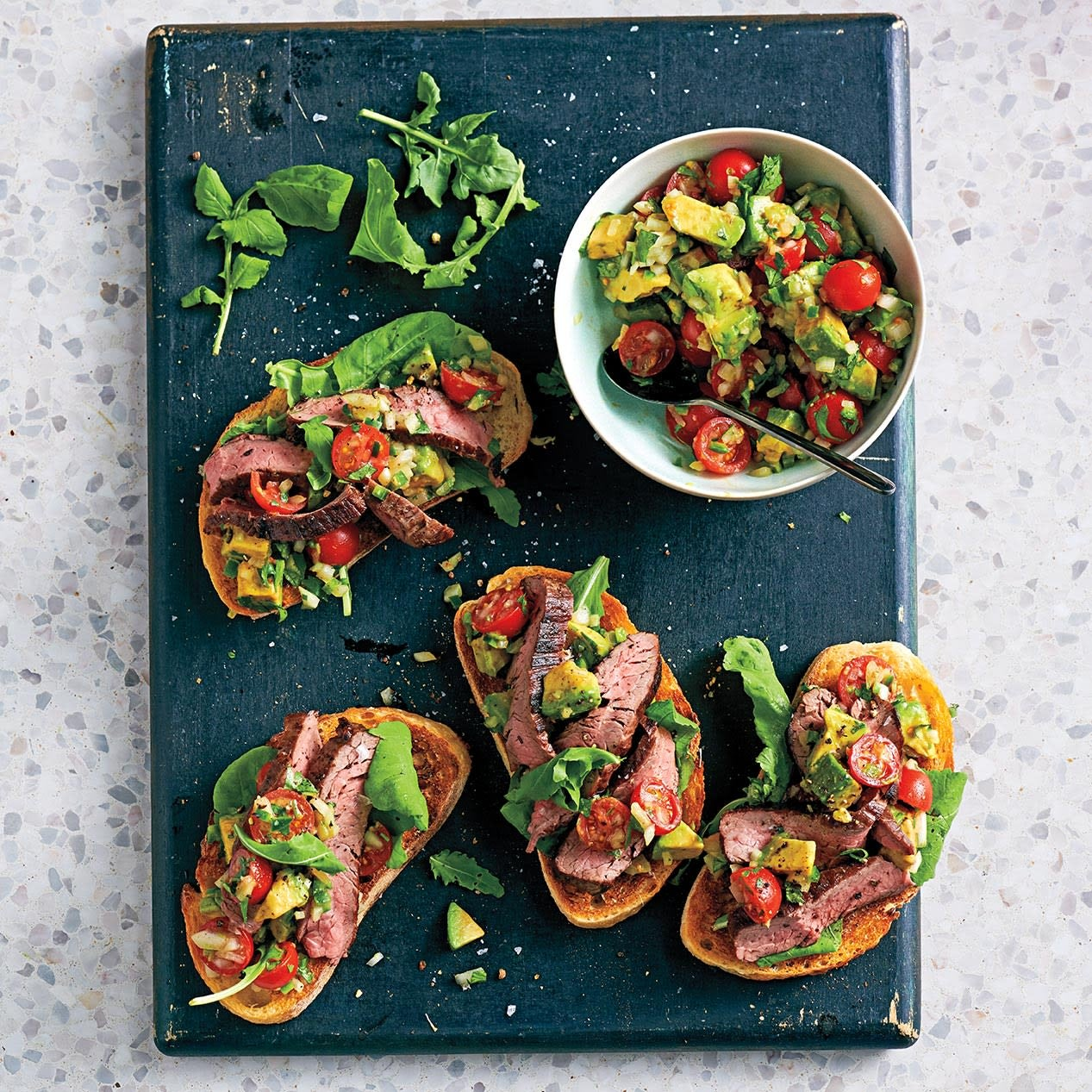 Photo of Steak on garlic bread with avocado salsa by WW