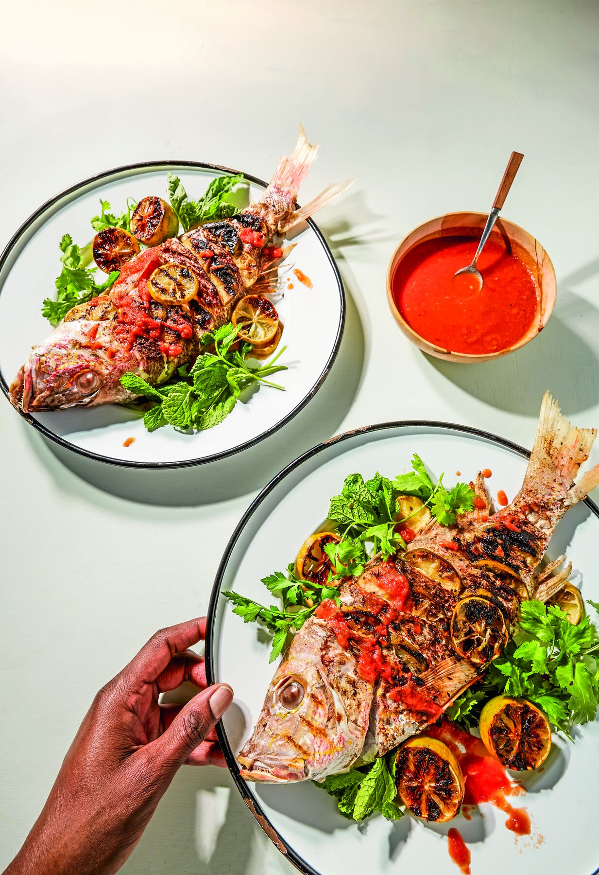 Photo of Grilled snapper with charred limes & hot sauce by WW