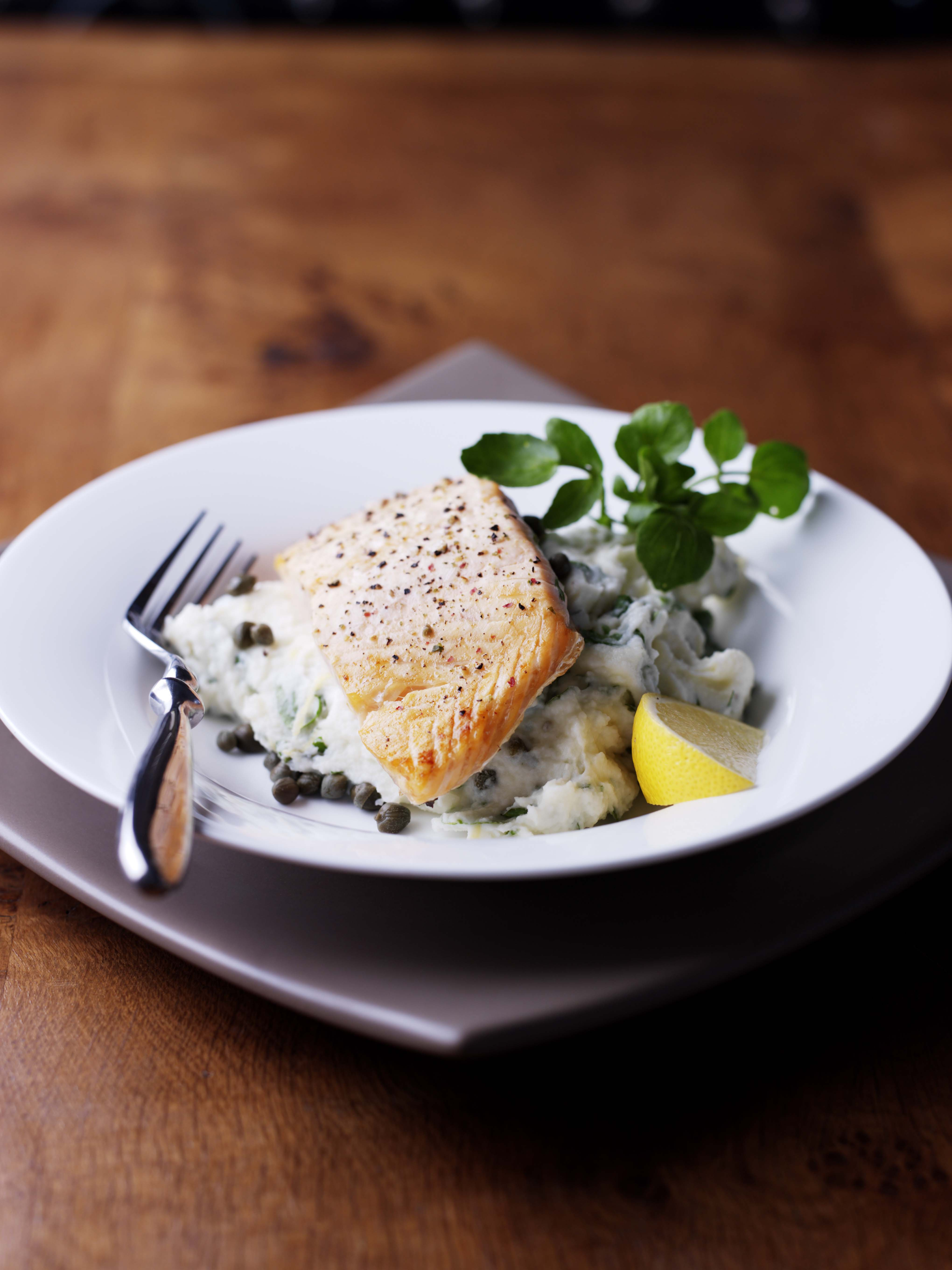 Photo of Grilled salmon with watercress & caper mash by WW
