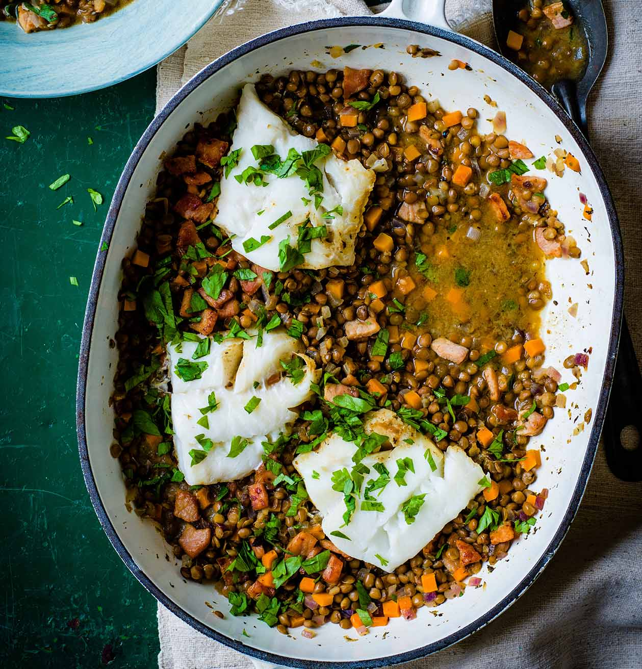 Photo of Cod with braised bacon lentils by WW