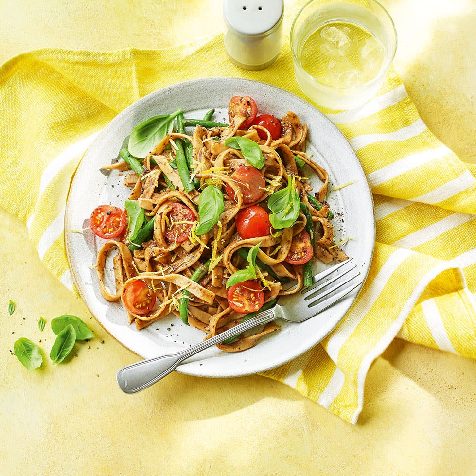 Photo of Olive tapenade pasta with green beans & cherry tomatoes by WW