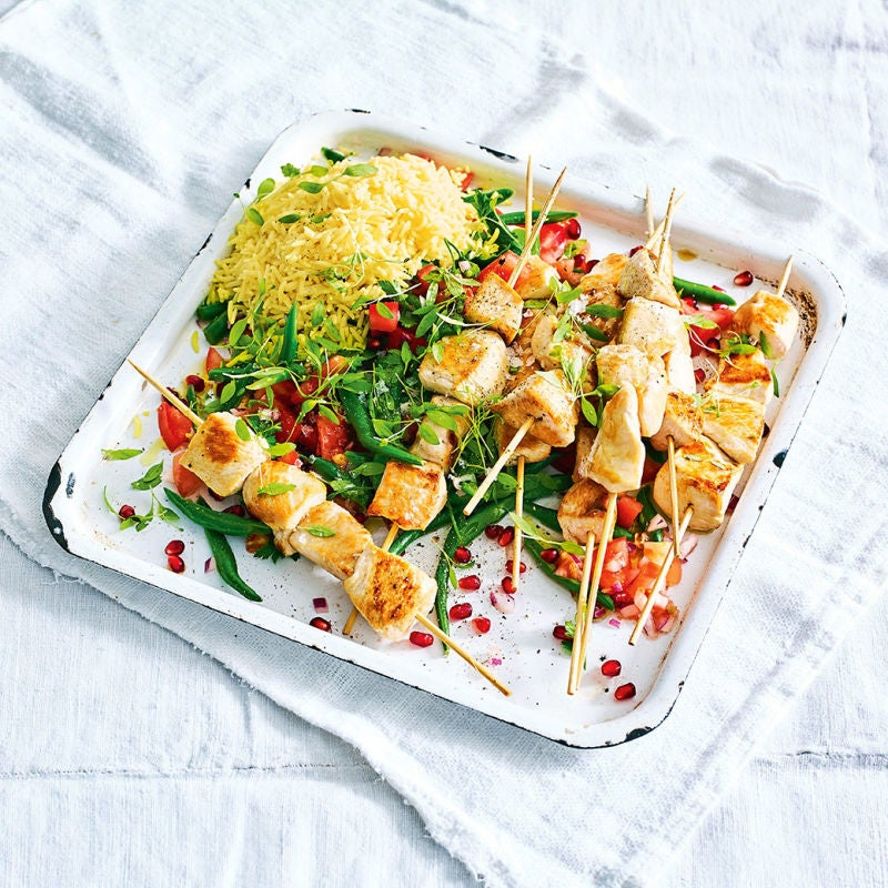 Photo of Sumac chicken skewers with pomegranate salad by WW