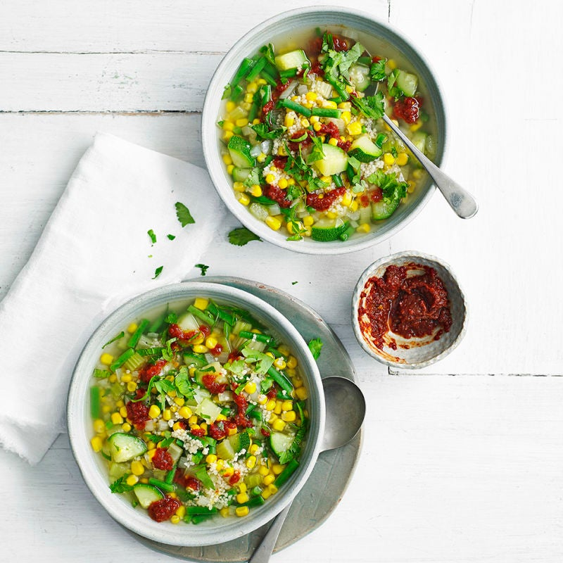 Photo of Couscous, courgette & sweetcorn soup by WW