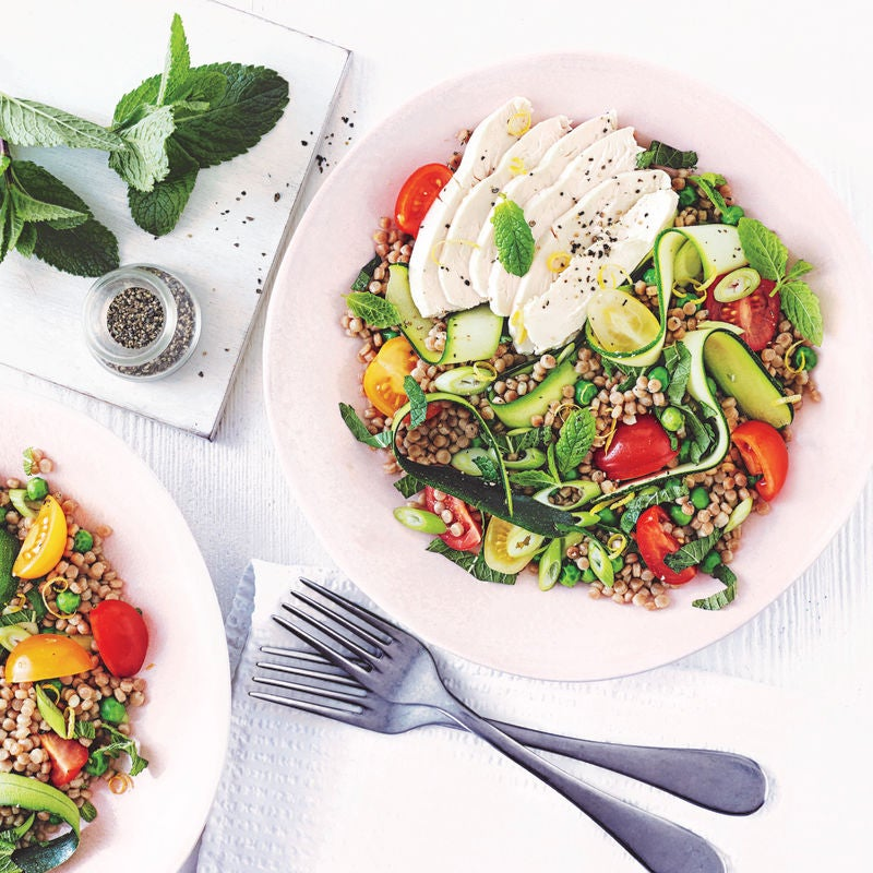 Photo of Warm chicken, courgette & giant couscous salad by WW