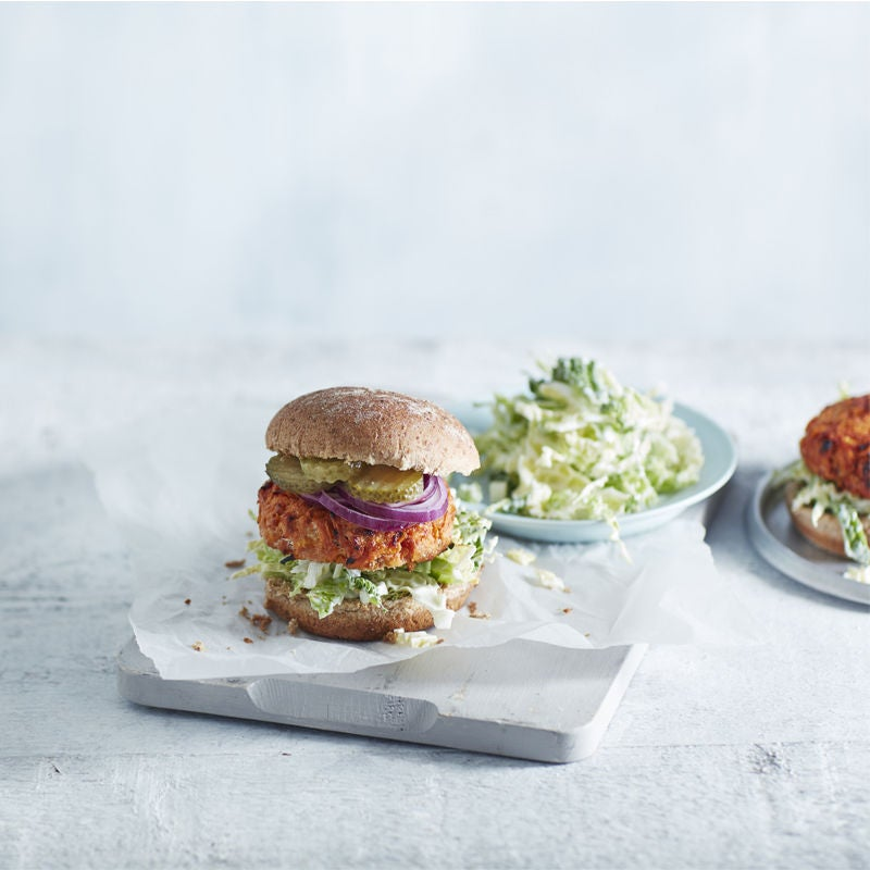 Photo of Turkey burgers with blue cheese slaw by WW