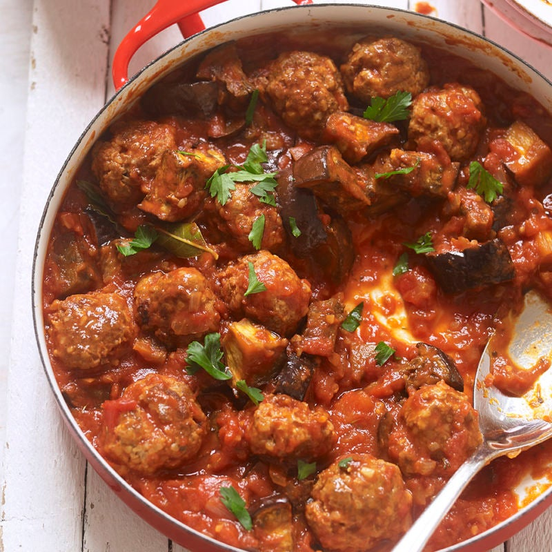 Photo of Lamb meatballs & aubergine in tomato sauce by WW