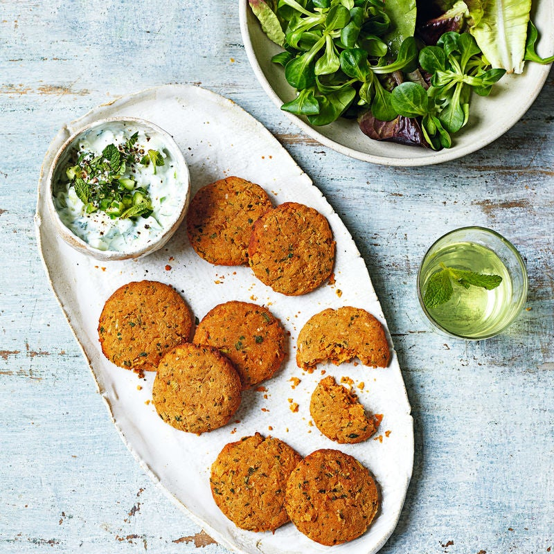 Photo of Butter bean fritters with yogurt & cucumber dip by WW