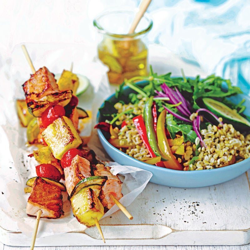 Photo of Sweet & sour fish kebabs with freekeh salad by WW