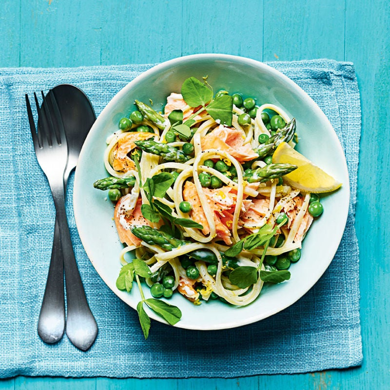 Photo of Roast salmon & asparagus linguine by WW