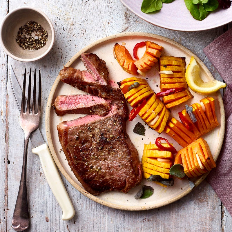 Photo of Steak with hasselback butternut squash by WW