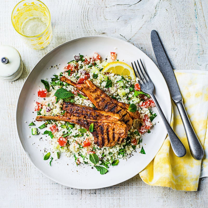 Photo of Harissa lamb chops with cauliflower 'tabbouleh' by WW