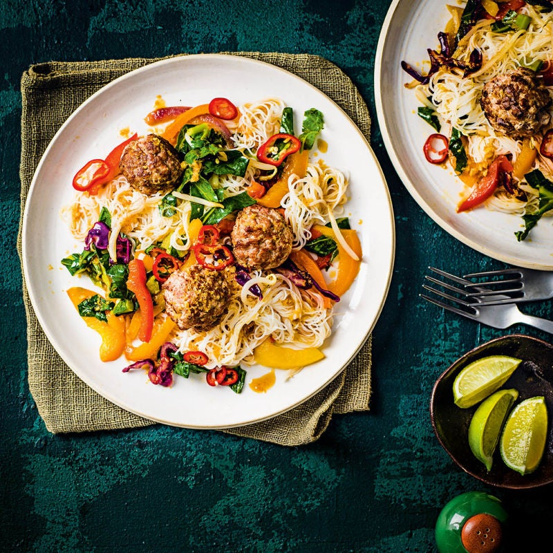 Photo of Asian-style turkey meatballs with noodles by WW