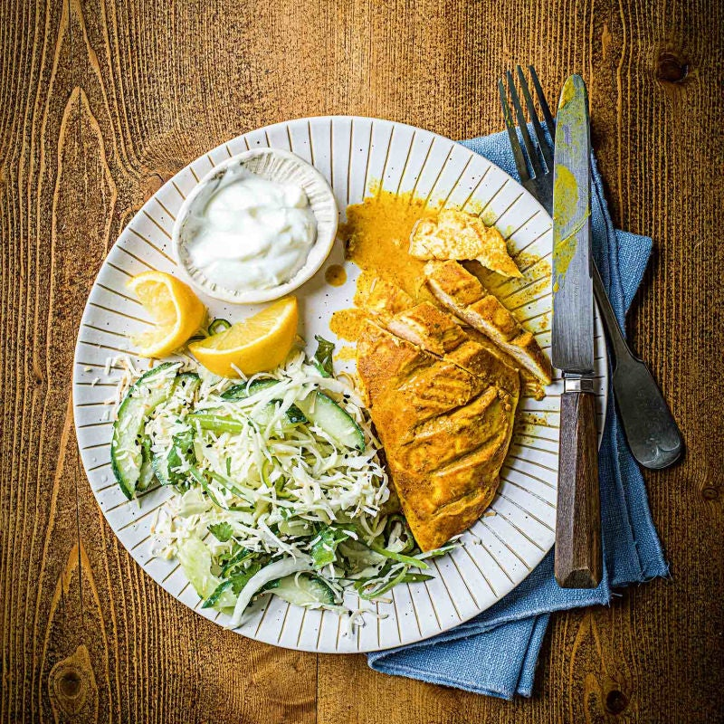 Photo of Spiced roast chicken with cool coconut yogurt slaw by WW