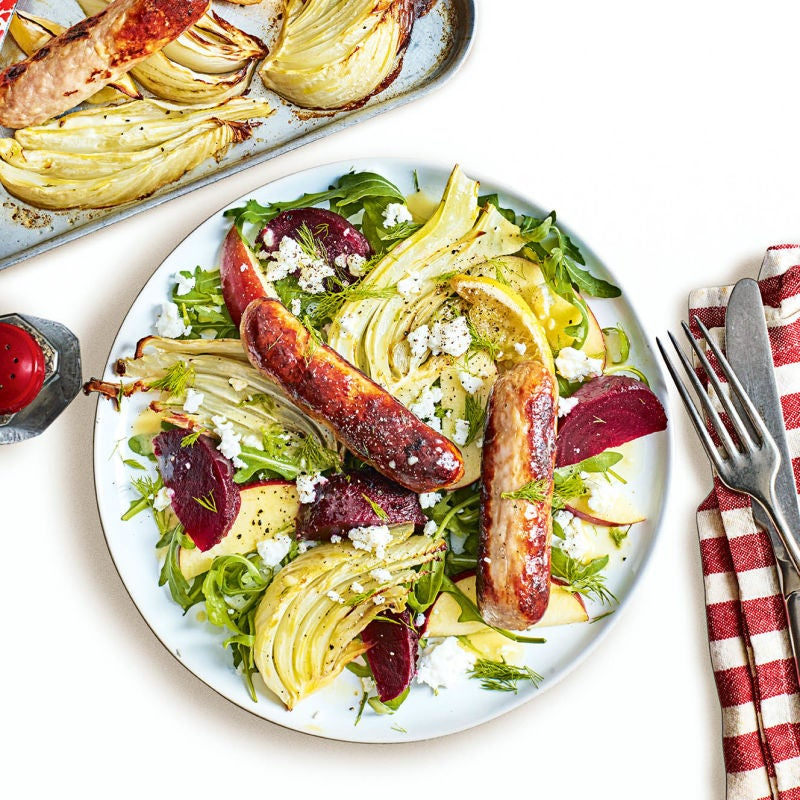 Photo of Sausage & fennel traybake with apple salad by WW