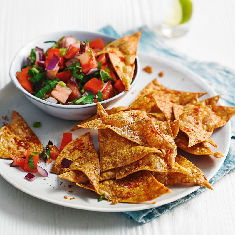 Photo of Lasagne tortilla chips with tomato salsa by WW