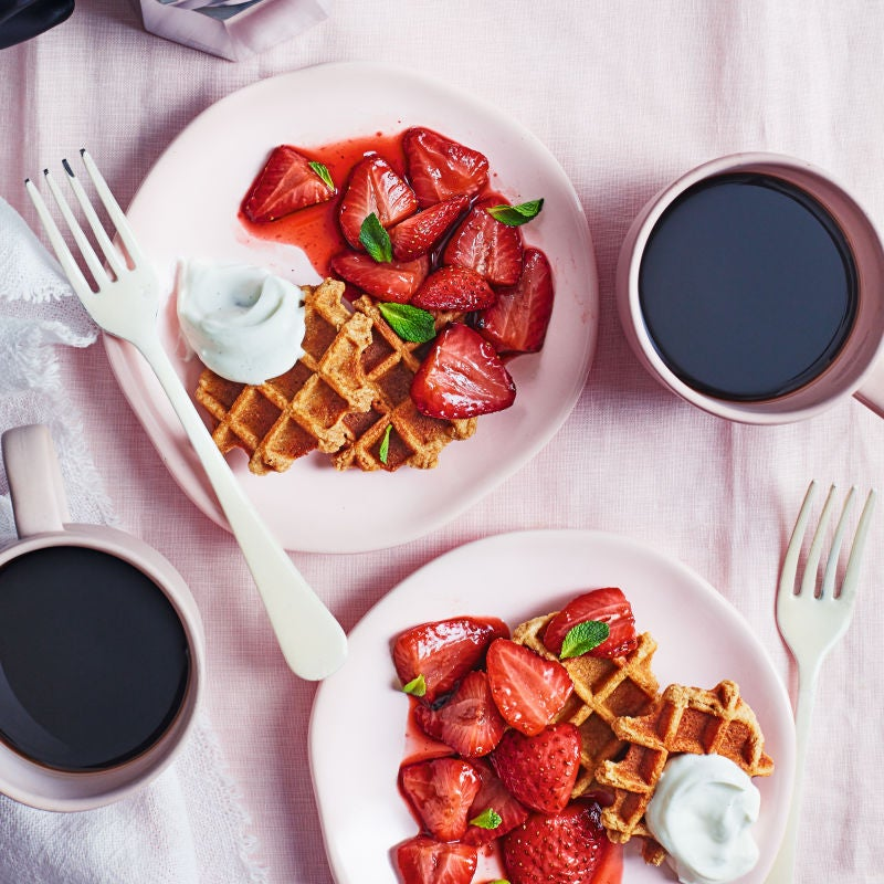Photo of Baked balsamic strawberries with waffles by WW