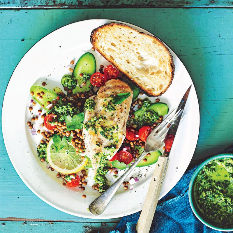 Photo of Pan-fried chicken with green olive dressing & lentil salad by WW