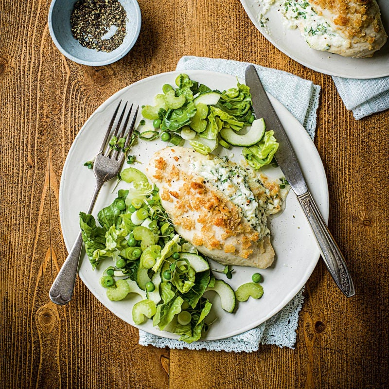 Photo of Kiev-style chicken with garden greens salad by WW